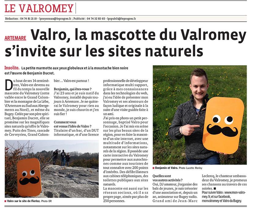 Valro dans l'article du Progrès du 25 avril 2015